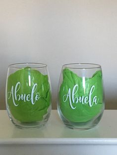Excited to share this item from my shop: Grandparents Anniversary Wine Glasses-Abuela's Gift- Abuelo's Gift-Personalized Wine Glass-Wedding Gift-Anniversary Gift-Retirement Gift