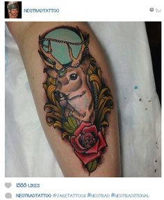 Instagram @Jake Donohoe Penley deer rose tattoo
