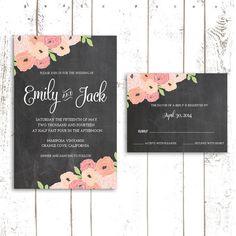 Chalkboard Wedding Invitation Sample Set by MooseberryPrintShop