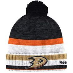 Official Anaheim Ducks cuffed pom knit toque from Reebok. Made of 100% Acrylic material knit in team colors featuring a raised embroidered team crest logo on the front of the toque.