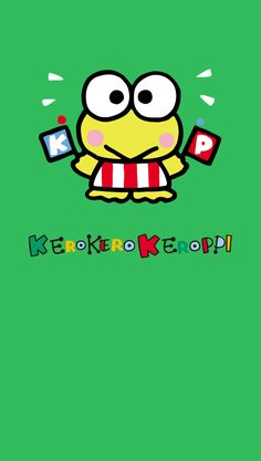 Hello Kitty Characters, Sanrio Characters, Keroppi Wallpaper, Walpapers Cute, Hello Kitty Backgrounds, Frog Art, Green Theme, Favorite Cartoon Character, Japanese Cartoon
