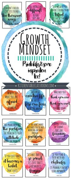 Growth Mindset Quotes for Kids & Parents is part of Life quote Change Mindset - I love that what you know & what you can do can change at anytime! This is exciting news, right These growth mindset quotes are good reminders of just that Future Classroom, School Classroom, Classroom Decor, Printable Classroom Posters, Growth Mindset Quotes, Growth Mindset For Kids, Growth Mindset Display, Growth Mindset Classroom, Bulletins