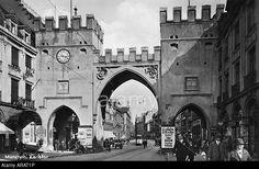 geography / travel, Germany, Munich, Karlstor, Western side, view, 1920s, 20s, Neuhauser Strasse, Karlsplatz, city gate, street, Stock Photo
