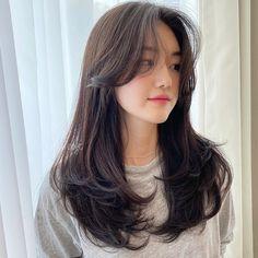 Haircuts Straight Hair, Haircuts For Medium Hair, Bangs With Medium Hair, Medium Hair Styles, Curly Hair Styles, Long Bangs, Straight Long Hair, Korean Long Hair, Korean Hair Color