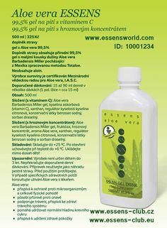 #Essens #Aloe vera -  99,5% gel na pití. Aloe přispívá k celkové fyzické pohodě. - Aloe vera gel #drink - Aloe Vera has been used for its #healing properties and #health  - www.essensworld.com - Essens ID-10001234