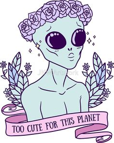 """Alien Tattoo - To cute for this planet. Cute Alien Tattoo - To cute for this planet.Cute Alien Tattoo - To cute for this planet. Cute Alien Tattoo - To cute for this planet. alien mask Pegatina """"I put a Spell on you"""" Stickers by Alien Tattoo, Illustrations, Illustration Art, Alien Aesthetic, Aesthetic Pastel, Space Grunge, Cute Alien, Alien Art, Alien Alien"""