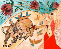 Strong feelings like a bull are entering the lady's heart. Strong Feelings, Digital Art, Artwork, Flowers, Inspiration, Inspired, Woman, Heart, Biblical Inspiration