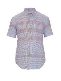 Burberry London Melthorpe check short-sleeved cotton shirt Sleeve Designs,  Blue Check, Burberry 91a7493ed4a