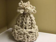 Super Chunky Cream Alpaca Hat  Knit Cream Pom by HandmadeKnitsHats