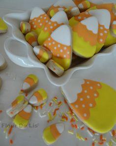 2 Dozen Candy Corn Cookies by FlourDeLisShop on Etsy