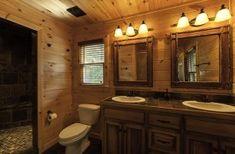 Luxurious Bathroom with Beautiful Stone Shower, Dual Sinks and Vanities Blue Ridge Cabin Rentals, Georgia Cabin Rentals, Vanities, Sinks, Stone Shower, Window Wall, Luxury, Interior, Bathroom