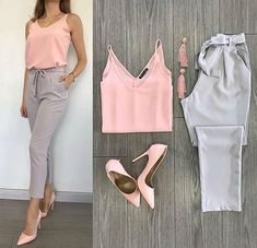2019 Pencil Pants Combinations Gray Pencil Pants Pink Strap Blouse Pink Stiletto Shoes - Business Outfits for Work Casual Work Outfits, Business Casual Outfits, Professional Outfits, Pink Outfits, Mode Outfits, Office Outfits, Work Attire, Classy Outfits, Trendy Outfits