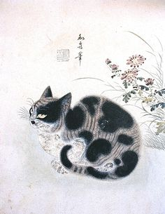Korean art, Autumn cat in a garden with chrysanthemum. Illustration. Korean art; Byeon Sangbyeok-