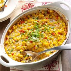 New Orleans-Style Scalloped Corn Recipe -This colorful casserole is popular for family gatherings in many New Orleans homes. I started making it years ago, and now our grown sons include it on their own menus.—Mrs. Priscilla Gilbert, Indian Harbour Beach, Florida