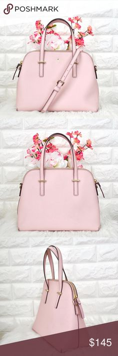 """💖Kate Spade Cedar Street Maise EXCELLENT USED CONDITION. Color: Pale Pink Material: Crosshatched Leather Dimension: 9H x 11.2W x 4.9D Strap Drop: 5"""" handheld; Strap: 18.5- 20.5""""  • No stains, rips or tears.  • Price is firm. Sell only, No trades. kate spade Bags Satchels"""