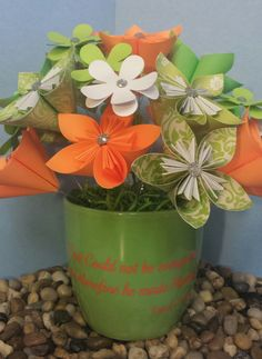 Paper Flowers, Mother's Day gift, $30 from TEKKTreasures on Etsy.  Etsy listing at https://www.etsy.com/listing/186861537/paper-flower-ceramic-pot-god-could-not