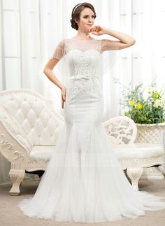 Trumpet/Mermaid Scoop Neck Court Train Beading Sequins Bow(s) Zipper Up Covered Button Sleeves Short Sleeves Beach General Plus No Spring Summer Fall Ivory Tulle Lace Wedding Dress