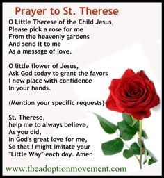 Prayer to the beautiful Little Flower - extremely efficacious