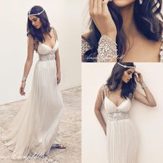 Anna Campbell Sexy V Neck Beaded Ruched A Line Wedding Dresses 2016 Backless Floor Length Chiffon Custom Made Bridal Gowns Ba0084 Bride Gowns Brides Dress From Beautydesign, $206.19| Dhgate.Com