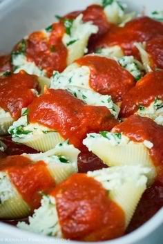 Stuffed Shells | Only I make with four cheese stuffing, small curd cottage chz, ricotta, mozarella, and shredded parm