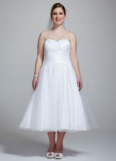 Strapless Tulle Tea Length Wedding Gown Style AI13020749