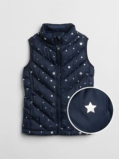 7b93106f Gap Girls Star Print Puffer Vest Dark Night Kids Outfits, Fall Outfits,  Cute Outfits