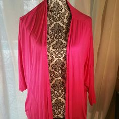 Pink cardigan Bright pink, stretchy material, 3/4 sleeves Lane Bryant Sweaters Cardigans