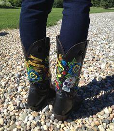 Sugar skull painted cowboy boots