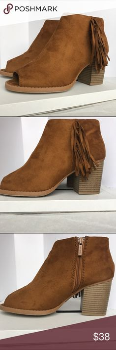 Fringe Ankle Booties ⭐️NEW ARRIVAL⭐️ NEW BOOTIES! Perfect for fall time  Heel height: 3.10 in. Shaft: 3.25 in. Opening: 10 in. (approx.) Synthetic suede Peep toe Side zip closure Fringe accent on side Lightly cushioned insole Wooden heel All man made materials *box included* Shoes Ankle Boots & Booties