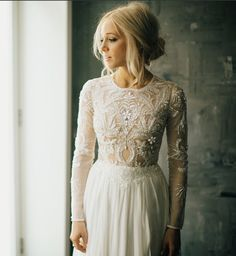 Stunning Long Sleeve Wedding Dress I Wedding Gowns I Photo by Phil Chester via lovelybride Bohemian Wedding Dresses, Wedding Gowns, Sleeve Wedding Dresses, Boho Wedding Hair, Long Sleave Wedding Dress, Wedding Dress Not White, Beaded Wedding Dresses, Bobo Wedding Dress, Bridesmaid Dresses Long Sleeve