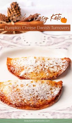 Keto Pumpkin Cheese Danish Turnovers | Beauty and the Foodie Pumpkin Pie Mix, Pumpkin Custard, Cheese Pumpkin, Pumpkin Cream Cheeses, Baked Pumpkin, Pumpkin Dessert, Low Carb Recipes, Real Food Recipes, Healthy Recipes