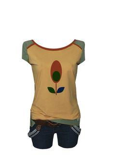 """T-Shirts mit Applikation - Iza Fabian   Shirt """" GOLD 3 """" gelb-olive - ein Designerstück von Iza-Fabian-Design bei DaWanda"""