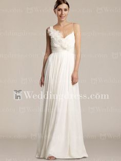 Floor Length V Neck Beach Wedding Dress BC316