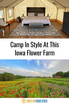 Enjoy a beautiful, relaxing getaway when you stay at PepperHarrow Flower Farm in Iowa. The gorgeous glamping tent is the epitome of cozy luxury, perfect for solo travel or a romantic weekend. Why camp anywhere else? Abandoned Prisons, Middle River, Best Bucket List, Luxury Glamping, Rustic Shower, Hidden Beach, Swimming Holes, Flower Farm, Covered Bridges
