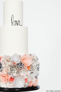 love the mixed black and white patterns | Edible Wafer Paper Flower Cake | by Hey There, Cupcake!