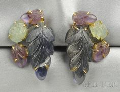 18kt Gold Gem-set Earclips, each set with carved sapphire, green beryl, and amethyst leaves, lg. 1 1/8 in.