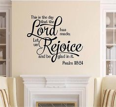 The Day The Lord Has Made Bible Verse Vinyl Decal Wall Sticker Words Lettering