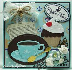 Anja Zom kaartenblog: Weer een paar kaartjes Cute Cards, Diy Cards, Cupcakes, Cupcake Cakes, Marianne Design Cards, Coffee Cards, Christmas Cross, Scrapbook Cards, Making Ideas