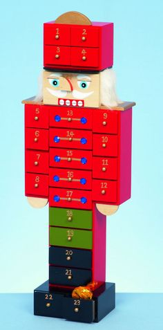 *LARGE CHRISTMAS TRADITIONAL WOODEN WOOD NUTCRACKER TOY SOLDIER ADVENT CALENDAR*