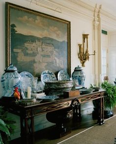 "MY BLUE AND WHITE CHINESE VASES, LONG CHINESE ALTAR TABLE, PEWTER TUREEN AND STAND/PEWTER PLATES, AND HOLLYHOCK PAINTING OF ""PAUL ET VIRGINIE"" AS INFANTS IN THEIR MOTHER'S ARMS --    Oscar_de_la_Renta_Home_7[1]"