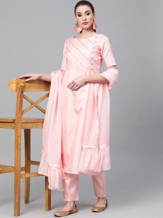 Radiant pink silk blend salwar kameez style with striped embroidery also comes with silk blend bottom and organza dupatta. Indian Dresses Online, Salwar Suits Online, Lehenga Style, Pink Silk, Pink Stripes, Girl Photography, Salwar Kameez, Fashion Dresses, Embroidery