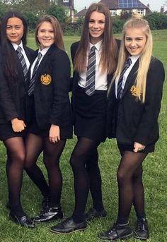 Girls Dressed In Formal School Uniforms With Shirts And Ties sexy schoolgirls School Uniform Outfits, Cute School Uniforms, Girls Uniforms, Catholic School Uniforms, Girls In School Uniform, Private School Uniforms, Private School Girl, British School Uniform, Sexy Outfits