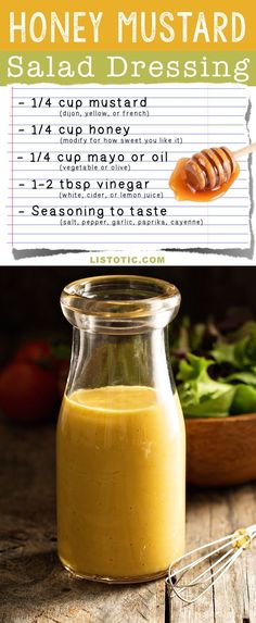 Easy Homemade Honey Mustard Salad Dressing Recipe | Listotic.com
