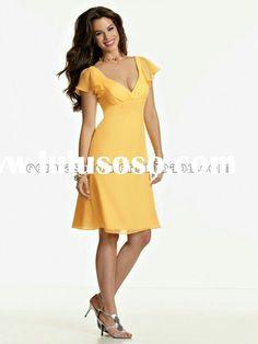 8da99ddd9e Cheap of V-neck Knee Length Amazing Short Sleeves Gold Chiffon Zipper Up A- line Bridesmaid Dress Party - Full Length Bridesmaid Dresses