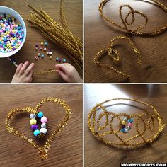 DIY Tiara using pipe cleaners and beads. From mommyshorts.com