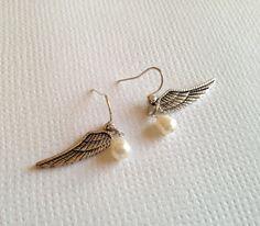Fresh Water Pearl Angel Wings Earrings Short by earringsgirl, $8.00