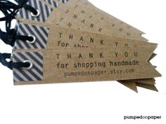 kraft gift tags - personalized pennant flag - with washi tape - set of 20. $21.00, via Etsy.