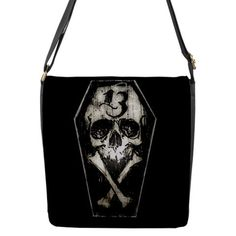 Lucky 13 coffin skull flap bag by StuffoftheDead on Etsy, $41.99