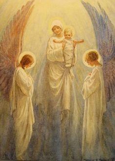 Maria e o Menino Jesus, ladeados por Anjos.