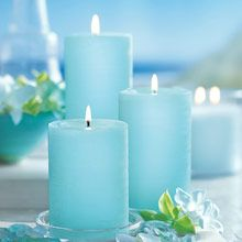 three light blue glolite candles, The Worlds Brightest Candle!  www.partylite.biz/stephaniejoana
